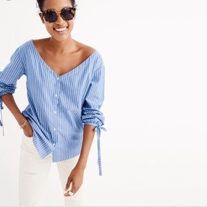 Madewell tie-sleeve blue and white striped blouse
